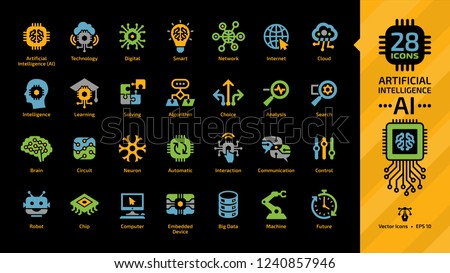 Vector artificial intelligence color icon set on a black background with machine learning, smart robotic tech and cloud computing network digital AI technology colorful symbols.