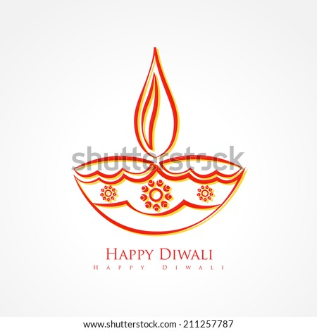 vector artistic diwali diya isolated on white background