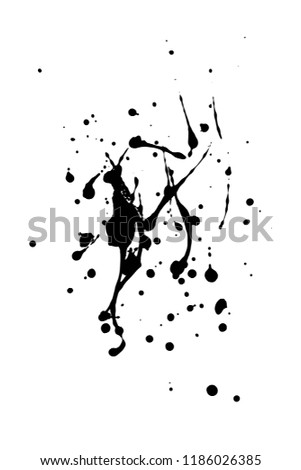 Vector artistic ink, watercolor splashes, ink blots. Black splatter. Grunge paint splotches.- stock vector