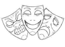 Vector artistic pen and ink drawing illustration of angry, happy and sad comedy mask.