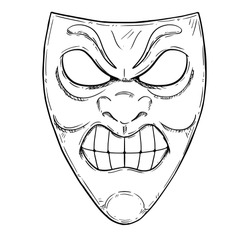 Vector artistic pen and ink drawing illustration of angry or aggressive comedy mask.