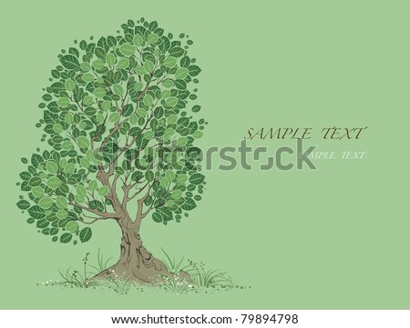 vector artistically painted tree with green leaves on a green background.