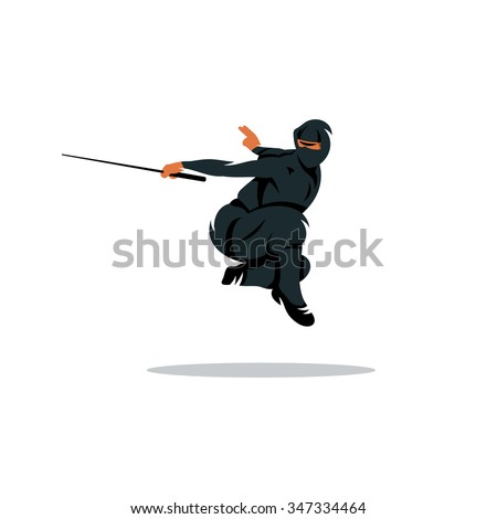 Stock Photo Vector Asian Ninja Cartoon Illustration. Asia Assassin fighter. Warrior in black dress blade strikes in a jump. Branding Identity Corporate Logo isolated on a white background