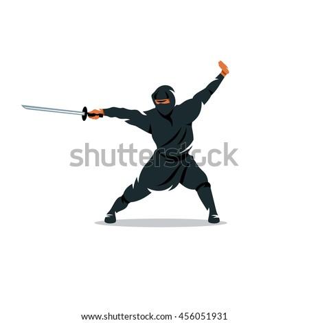 vector asian ninja cartoon