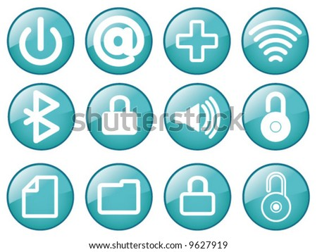 Vector Assorted Glass effect media Icons