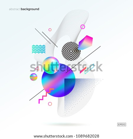 Vector astract design with different geometric, 3d, linear and stipple shapes. Abstract multicolored composition. #1089682028