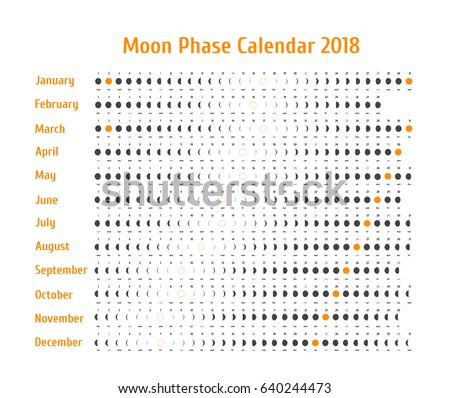 Vector astrological calendar for 2018. Moon phase calendar for dark gray on a white background. Creative lunar calendar with dates and days of the week on a white background ideas for your design.