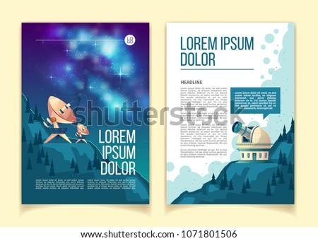 Vector astronomy brochure, flyer with astronomical equipment to observe night sky and stars, observatory with giant telescope, satellite dishes on hills. Mockup for scientific leaflet, cover for book