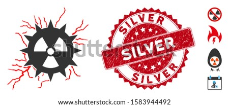 Vector atomic power sparks icon and grunge round stamp seal with Silver caption. Flat atomic power sparks icon is isolated on a white background. Silver stamp seal uses red color and distress design.
