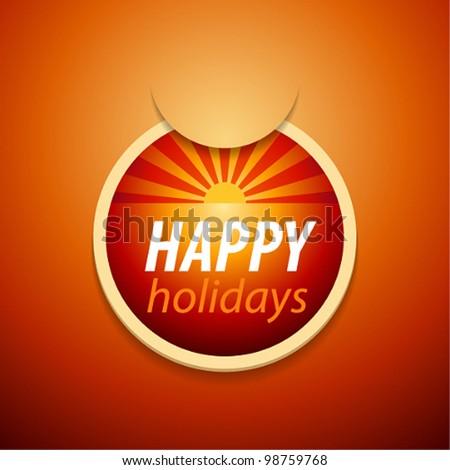 Vector attach happy holidays sticker.