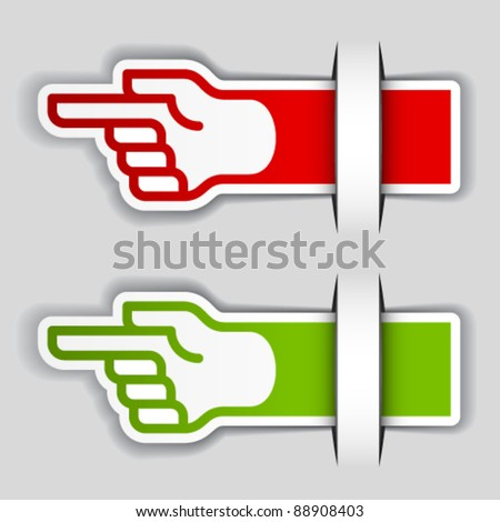 vector attached pointing hand labels