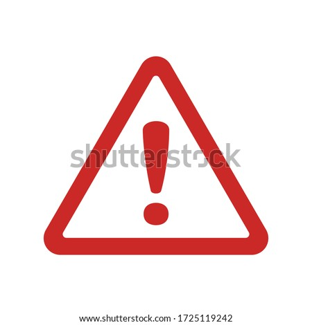 Vector attention sign with exclamation mark icon. Danger symbol. Flat Vector. Risk sign. Foto stock ©