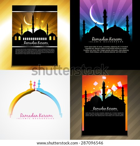 vector attractive set of brochure of ramadan festival illustration
