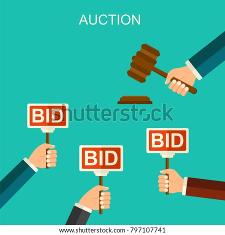 Vector auction and bidding concept. Hands holding auction paddle. Flat vector illustration with banners BID. Flat style hand hitting wooden gavel in auction.