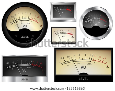 Vector audio VU meters. Different colors and styles.
