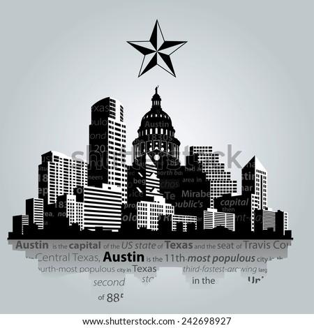 Vector. Austin city, capital of Texas silhouette.