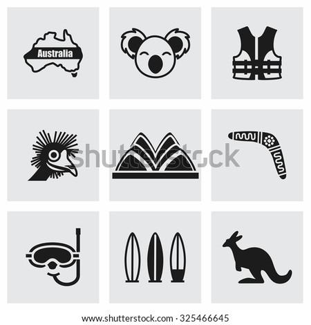 Vector Australia icon set on grey background