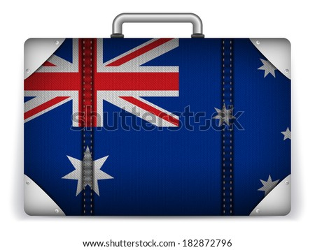 Vector - Australia Travel Luggage with Flag for Vacation