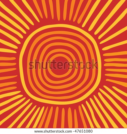 Vector Australian sun including ethnic motive with multicolored typical elements