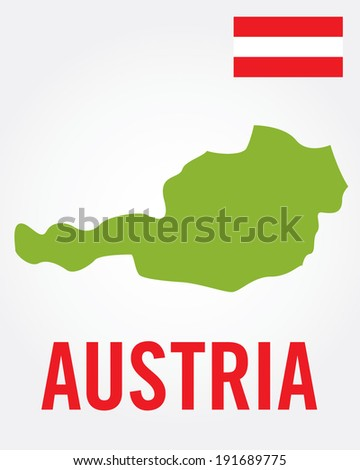 vector austria map and flag set