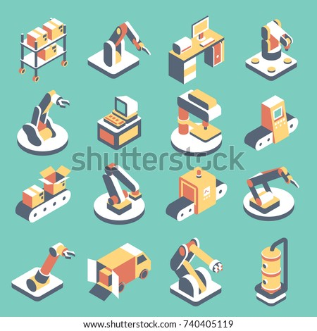 Vector automated production line flat isometric icon set. Manufacturing equipment with conveyor system, industrial robotic arm for assembly and packaging.