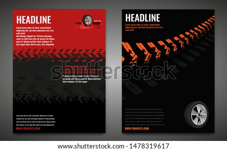 Vector automotive banner template. Grunge tire tracks background for vertical poster, digital banner, flyer, booklet, brochure, web design. Editable graphic image in black, red, grey, orange colors