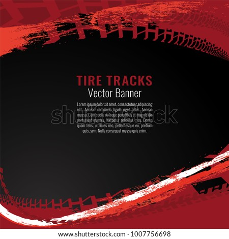 Vector automotive banner template. Grunge tire tracks backgrounds for landscape poster, digital banner, flyer, booklet, brochure and web design. Editable graphic image in black, red and white colors