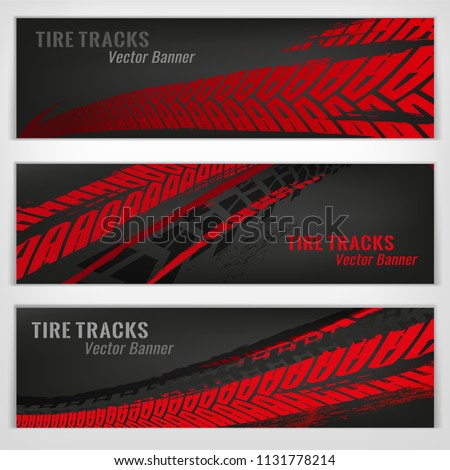 Vector automotive banners template. Grunge tire tracks backgrounds for landscape poster, digital banner, flyer, booklet, brochure and web design. Editable graphic image in grey and red colors