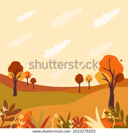 Vector autumn background, backdrop,wallpaper.Illustration with fall nature, trees and clouds. Plants, leaves, foliage are at the first ground.