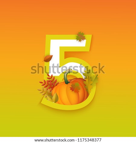 vector autumn five 5 number