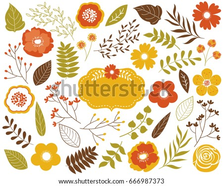 Vector autumn floral set with leaves, flowers, berries and frame. Vector fall set. Yellow and orange leaves and flowers. Vector Autumn leaves and flowers.