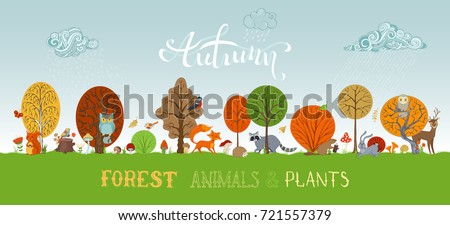 vector autumn forest animals