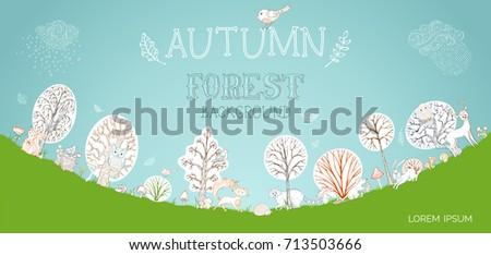 vector autumn forest background