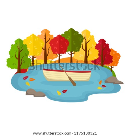 vector autumn landscape boat
