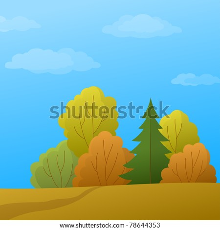 Vector, autumn landscape: forest with various trees and the blue sky with white clouds - stock vector