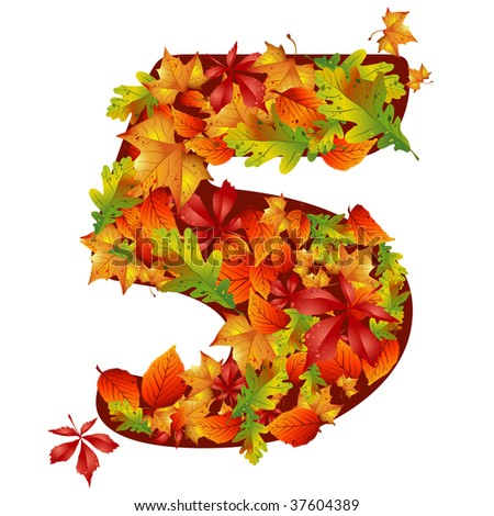 vector autumn leaves number five