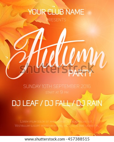 vector autumn party poster with