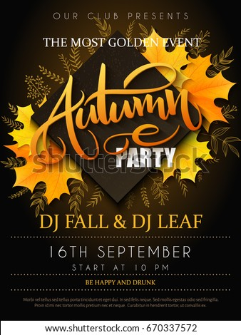 Vector autumn party poster with lettering, yellow autumn maple leaves, doodle branches and rhombus.