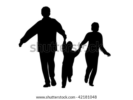 vector autumn running family with boy silhouette