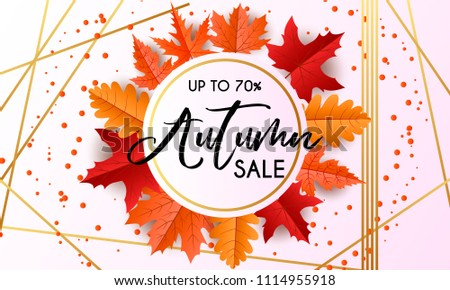 Vector autumn sale banner with hand drawn lettering and leaves. Design template for banner, flyer, poster, menu, tag, promotion. Vector illustration, purple, gold, orange.