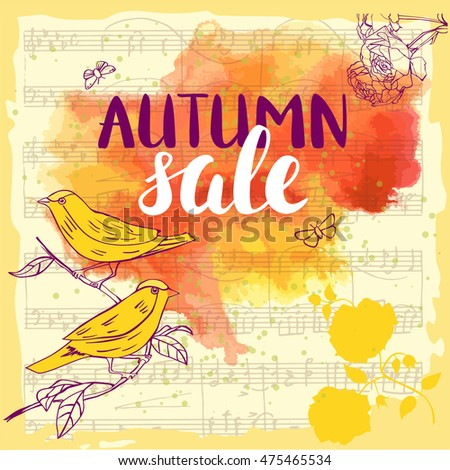 vector autumn sale banner with