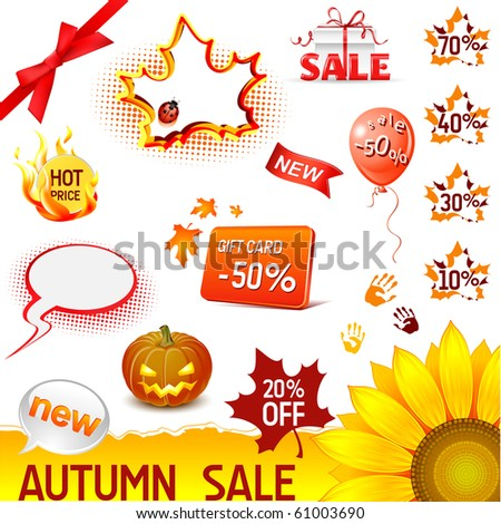 vector autumn sale icons set