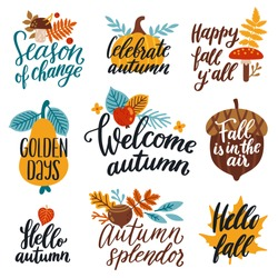 Vector autumn set of labels and hand written phrases
