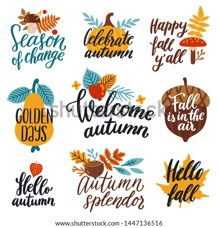 "Vector autumn set of labels and hand written phrases ""Happy fall y'all"", ""Welcome autumn"", ""Hello fall"". Collection of scrapbooking elements for harvest party. All elements are isolated on white."