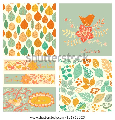 Vector autumn set, seamless pattern with leaf, autumn leaf background.Autumn seamless pattern. Vector backdrop. Bright pattern. Autumn template. Use for wallpaper, pattern fills, web page background - stock vector