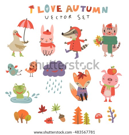 vector autumn set with the cute