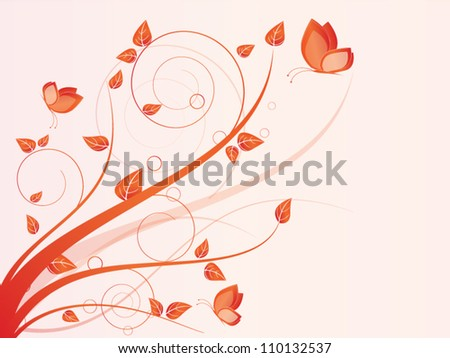 Vector autumn spring background with floral elements and butterfly