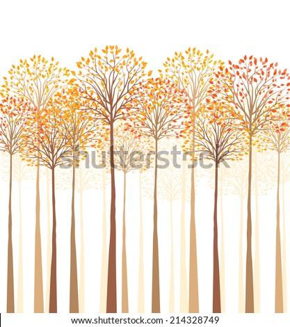vector autumn tree on a white