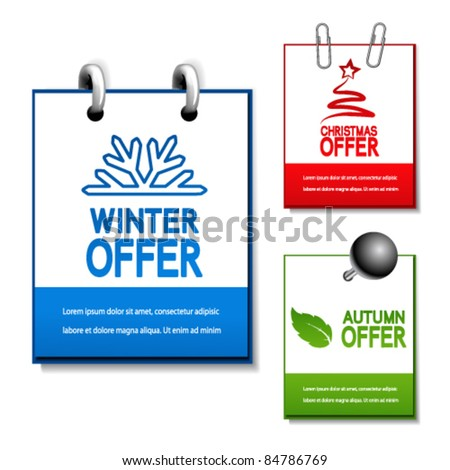 Vector autumn, winter and Christmas offer notepad