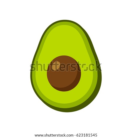 Vector avocado icon isolated on white background. Simple modern flat illustration.
